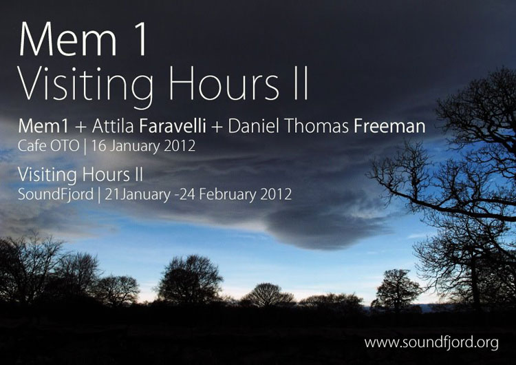 SoundFjord presents Visiting Hours II at Cafe OTO, Monday 16 January 2012 with Mem1 > Atilla Faravelli > <b>Daniel Thomas Freeman</b>