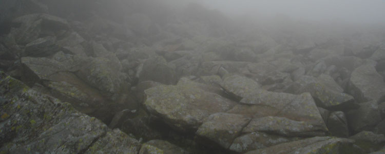 Scafell Pike in the fog - photo by DTF