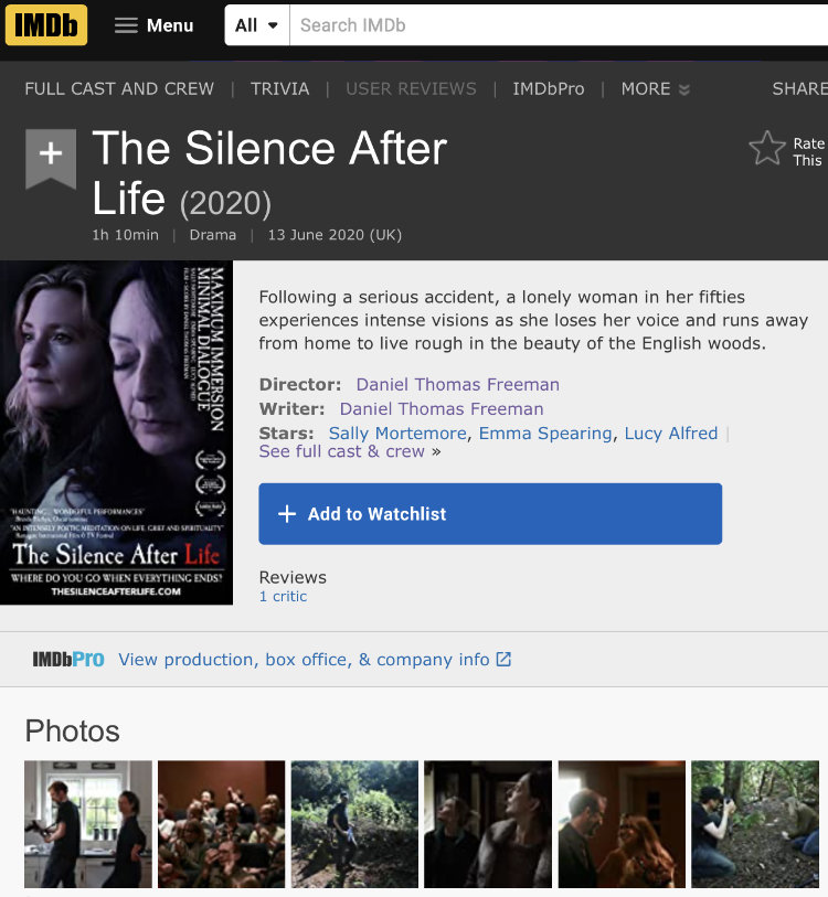 The IMDB page for The Silence After Life a day before the films release
