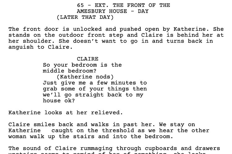 Excerpt from the shooting script for The Silence After Life